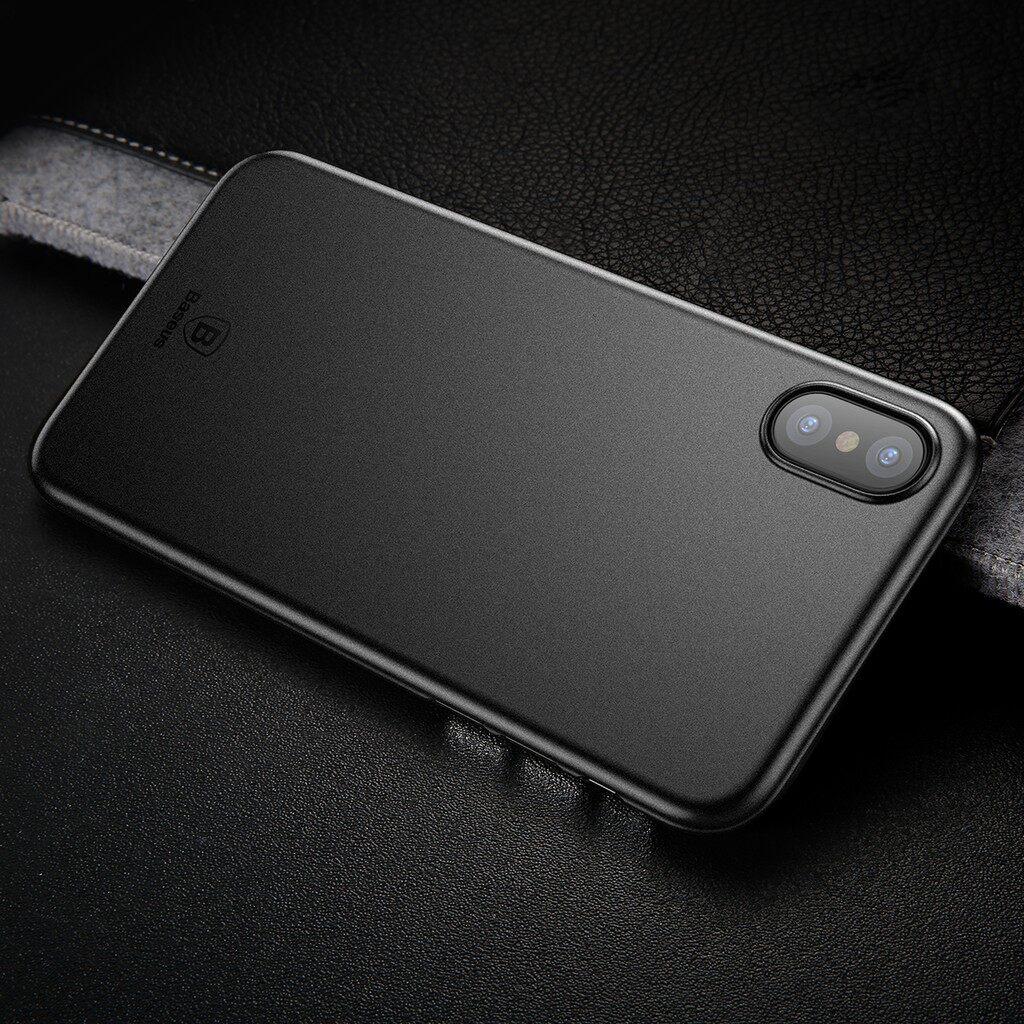 iPh Hard Cover - Baseus PP 0.45mm ULTRA Thin Anti Fingerprint Case Cover for iPh X - TRANSPARENT WHITE / TRANSPARENT BLACK / BLACK