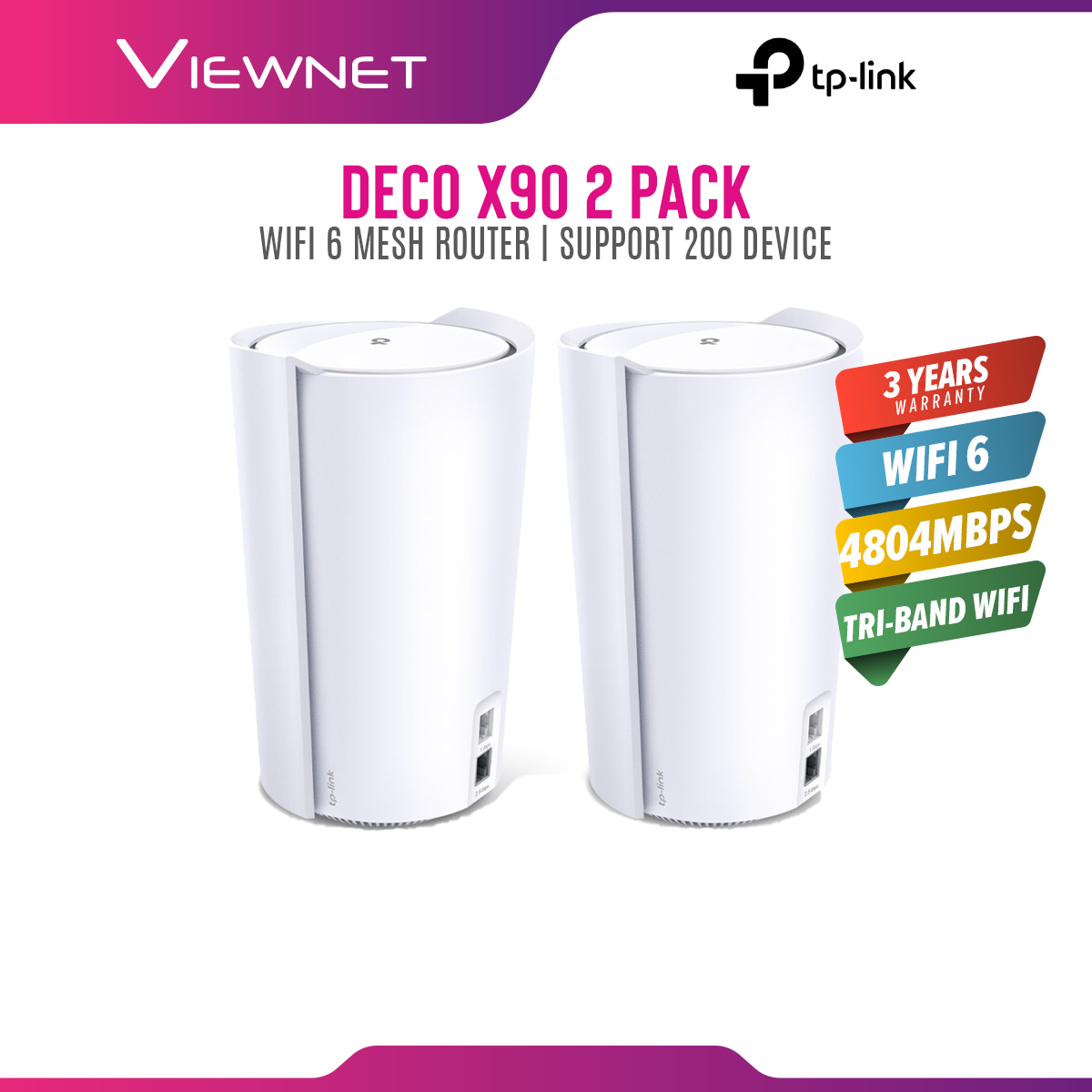 [READY STOCK/FAST SHIPMENT] TP-Link Deco X90 (2-Pack) - AX6600 Whole Home Mesh Wi-Fi System