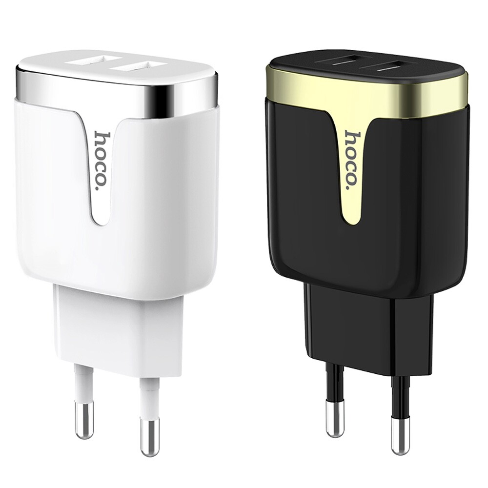 Chargers - HOCO 2.1A Dual Ports Fast Charging EU USB Charger Adapter For iPh X XS iPad Pocophone F1 - WHITE / BLACK