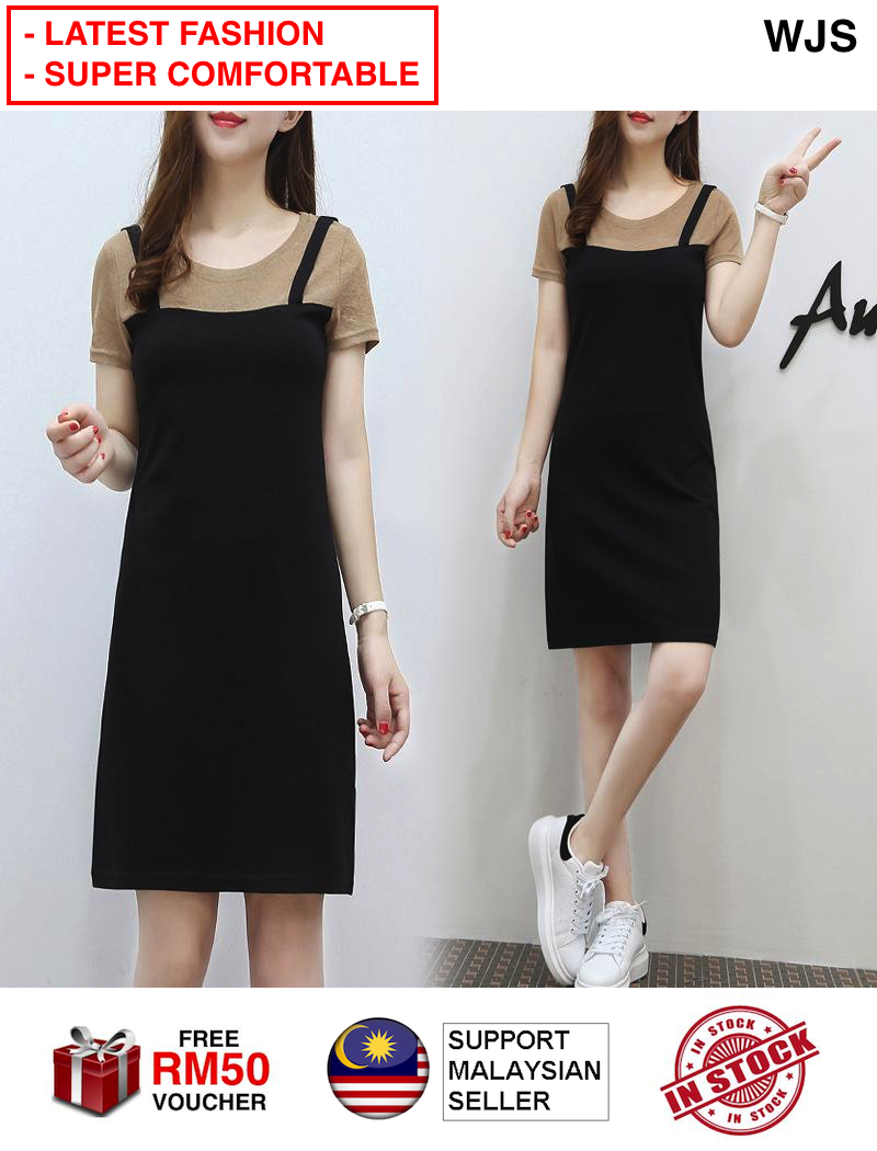 (LATEST STYLE) WJS New Strap Dress Two-piece Look Dress Female Summer Dresses Korean Version Long Section Fashion Suit Skirt Singlet Dress Plus Size MULTISIZE BLACK BROWN [FREE RM 50 VOUCHER]