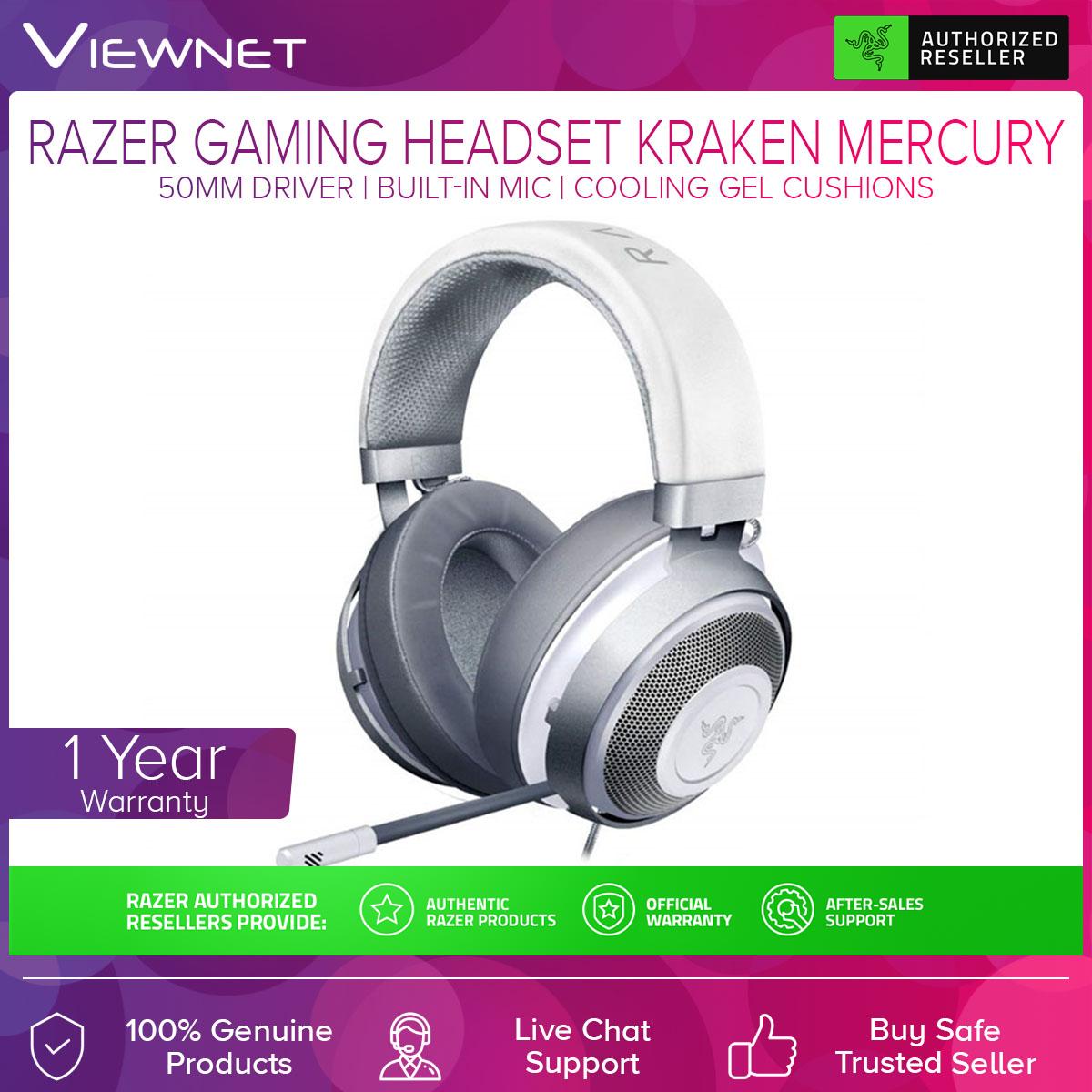 Razer Kraken Gaming Headset Gaming 2.1 (RZ04-02830300-R3M1 / RZ04-02830400-R3M1)  (Quartz / Mercury) with 50MM Driver, Colling Gel Cushions, Aluminum Frame, Thicker Headband Padding, Built-In Mic, Cross-Platform Compatibility