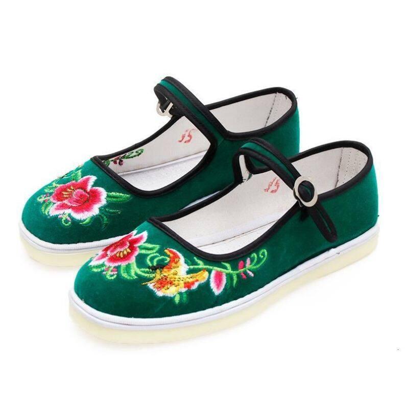 Cồn cũ Bắc Kinh giày dây chằng phụ nữ, chân bằng phẳng, miệng nông cạn, thủng lỗ, đôi giày thêu tự tay, khóa câu22810; 9151; 332121; ujyugmkjk giá rẻ