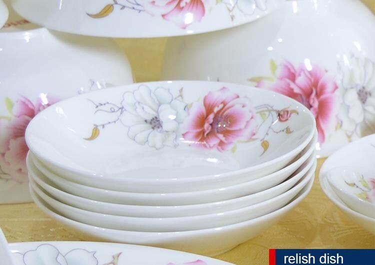 Fortune Fine Porcelain 56 Pcs Round Dinnerware Plate Set White + Flower + Pink