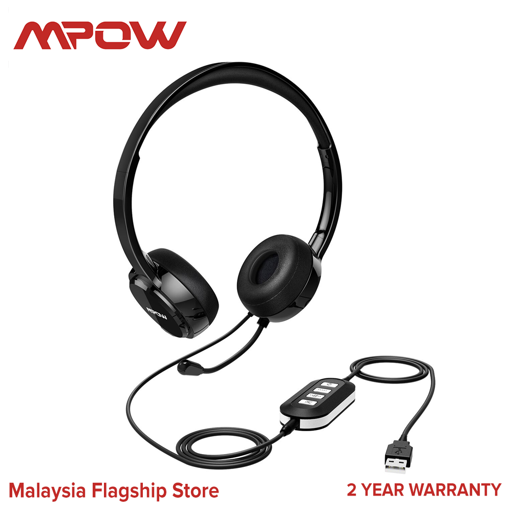 [ NEW ARRIVAL ] Mpow 071 USB Headset/ 3.5mm Computer Headset with Microphone Noise Cancelling, Lightweight PC Headset Wired Headphones, Business Headset for Skype, Webinar, Cell Phone, Call Center