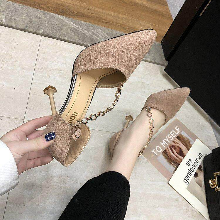 (PRE ORDER) WOMEN POINTED HEELS SANDAL STILETTO SUEDE CHAIN SHOES