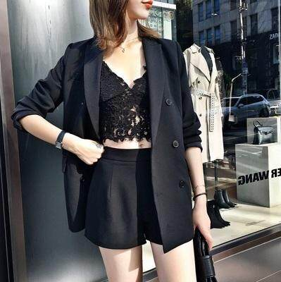 (Pre Order14 Days  JYS Fashion Korean Style Women Blazer +BottomSetCollection515-6155col515-6155--Pattern 2 Black -S