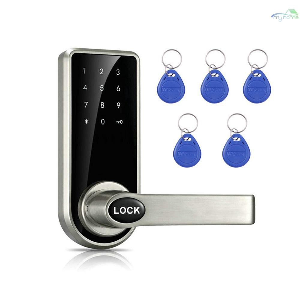 Chains & Locks - Intelligent Electronic Door Lock Code Cards Mechanical Keys Touched Screen Keypad Digital Password - #
