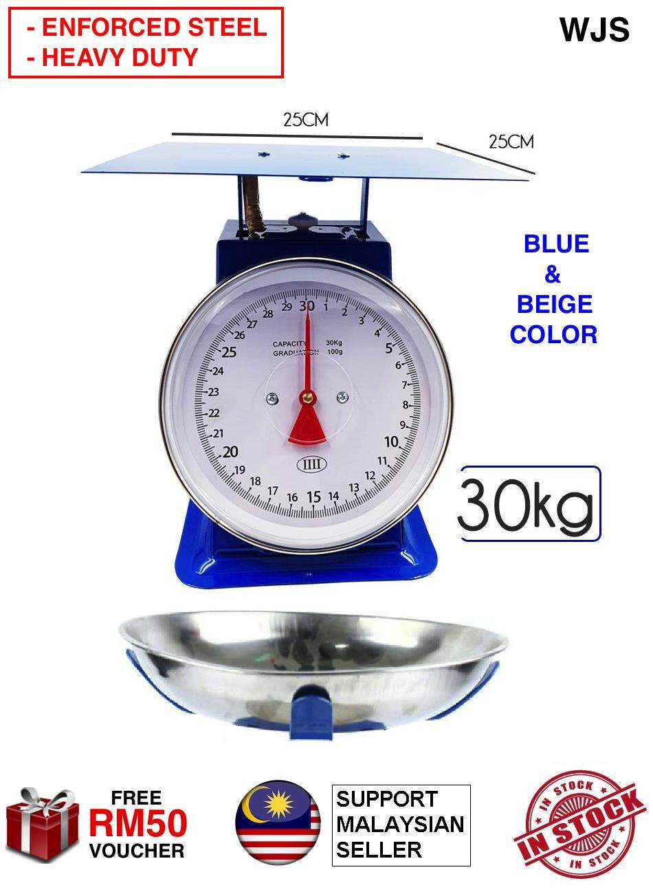 (ENFORCED METAL EXTRA DURABLE) WJS IIII 30KG Analog Scale Commercial Scale Industrial Scale And Kitchen Mechanical Weighing Scale BLUE BEIGE TRAY OR PLATE OPTION [FREE RM 50 VOUCHER]