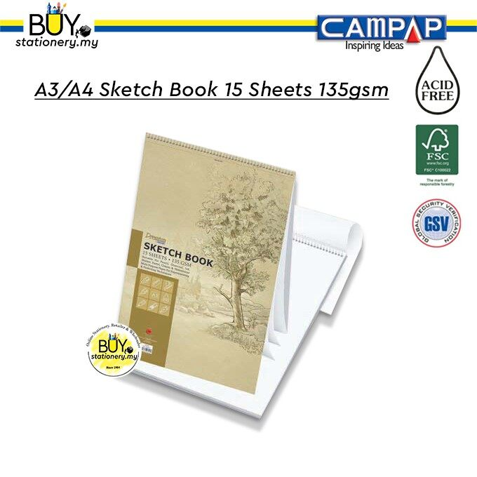 CAMPAP A3/A4 Sketch Book 15 Sheets 135gsm - (1s/PKT)