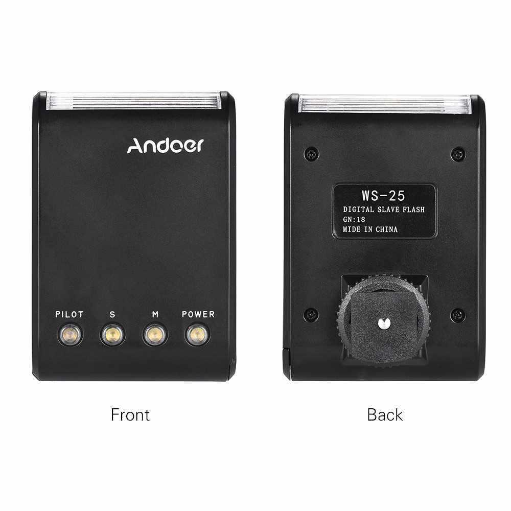 Andoer WS-25 Professional Portable Mini Digital Slave Flash Speedlite (Black)