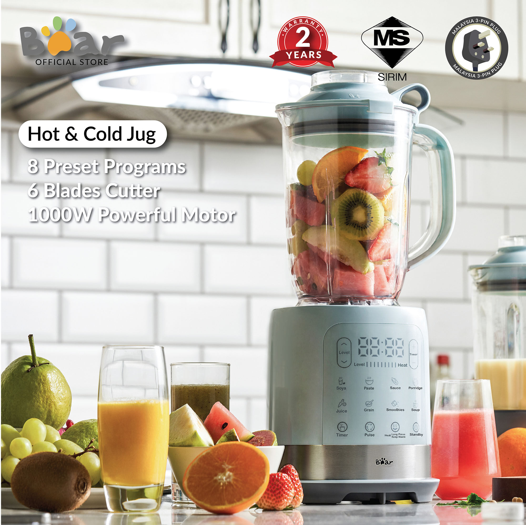 Bear Multifunctional High-speed Blender PBJ-B10N1 /smart blender 1.5L/juicer /soybean Milk maker/household reservation heating broken food machine Meat grinder Mixer food supplement /Intelligent broken wall boiling (Malaysia 3-Pin Plug)