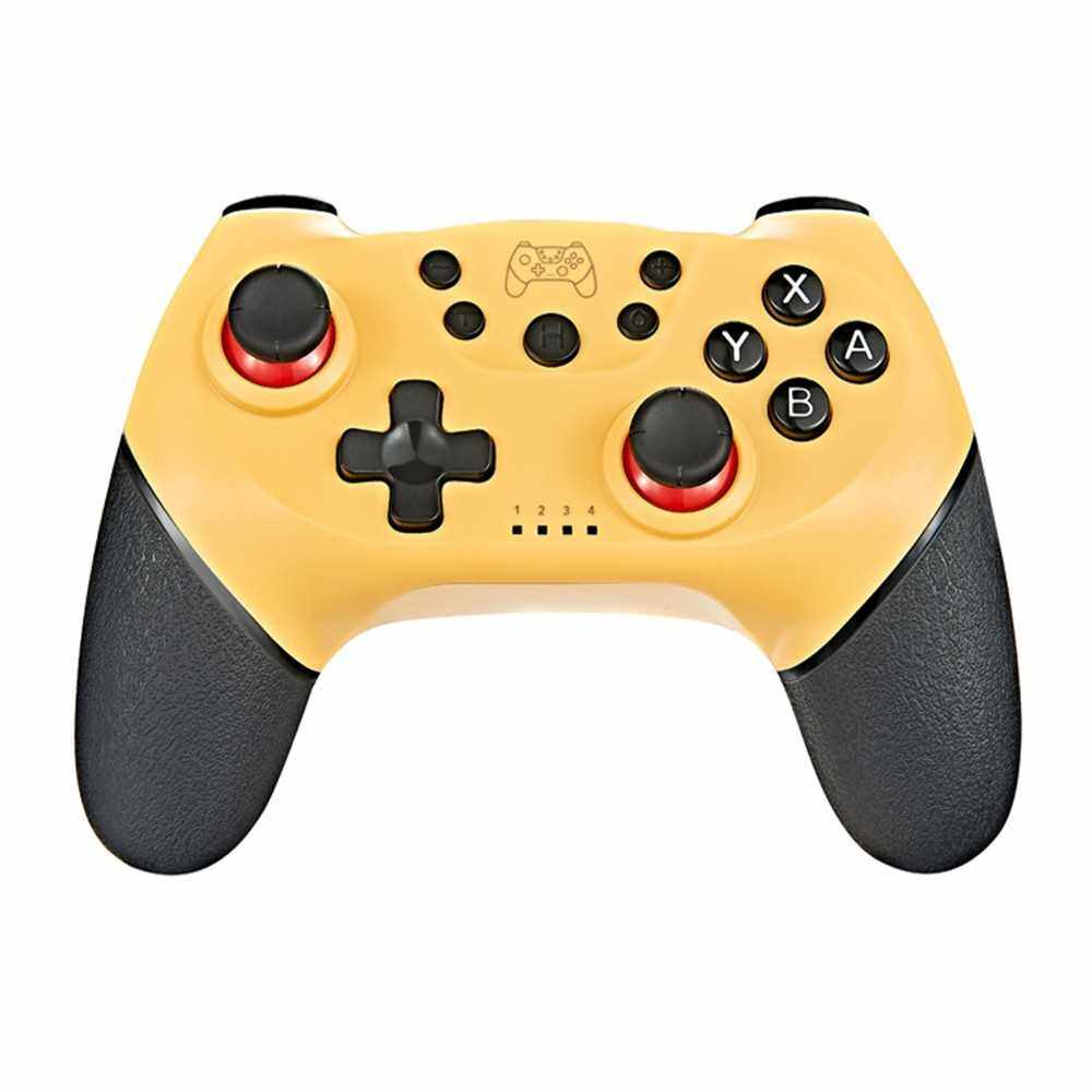 Wireless Bluetooth Gamepad Game Joystick Controller with 6-Axis Handle Compatible with Switch Pro Gamepad Switch Console (Yellow)