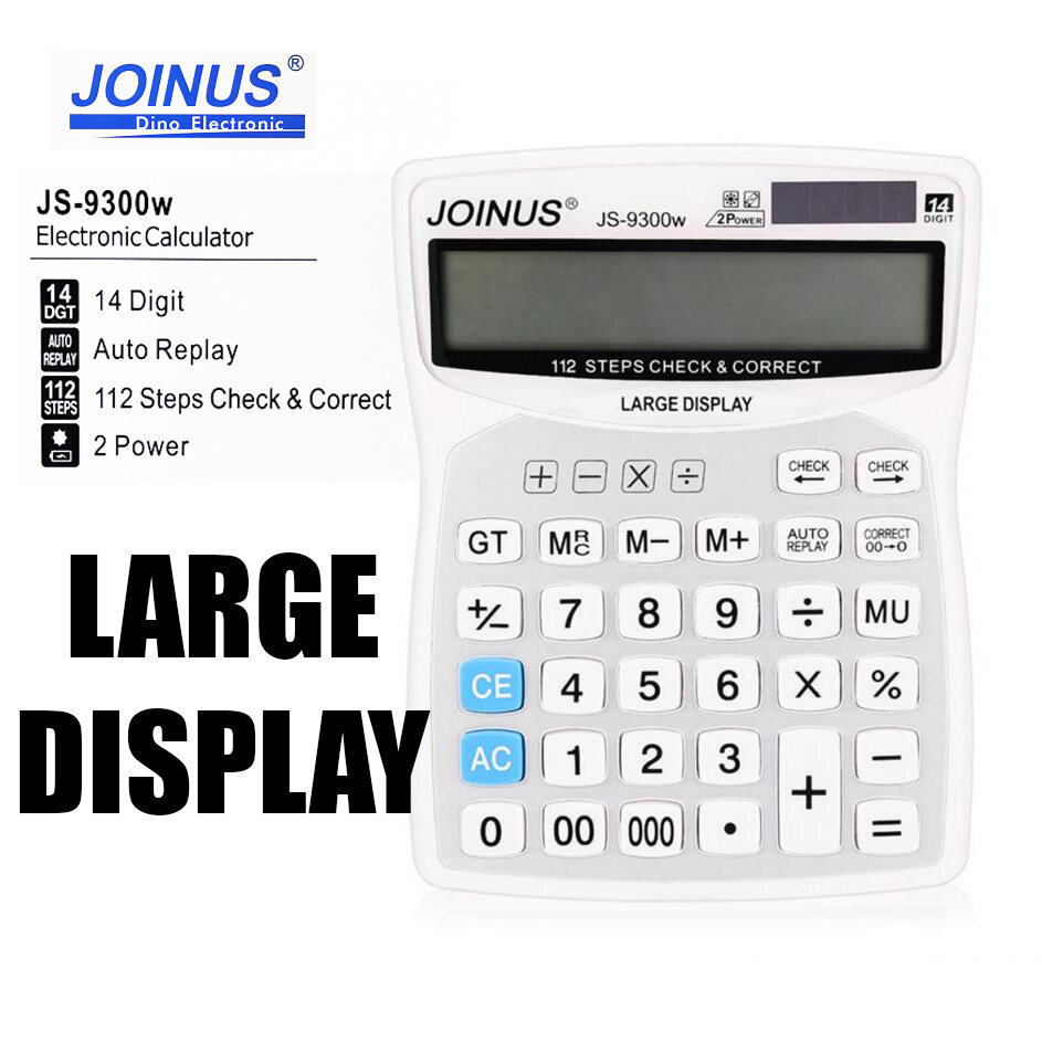 Portable Battery Powered Calculator for Basic Calculation Large Display Auto Replay for Business JS-9300W