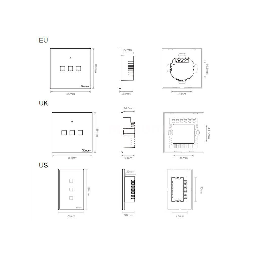 Lighting - T3 Intelligent Switch EU/UK/US AC 100-240V 1/2/3 Gang TX Series WIFI Wall Switch 433Mhz RF - Home & Living