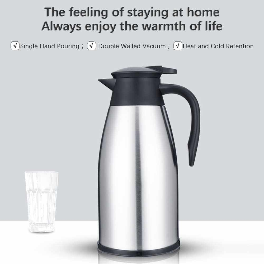 Stainless Steel Insulation Bottle Double Walled Vacuum Flask 2L Keep Heat Cold for Beverage Tea Coffee Water (Silver)