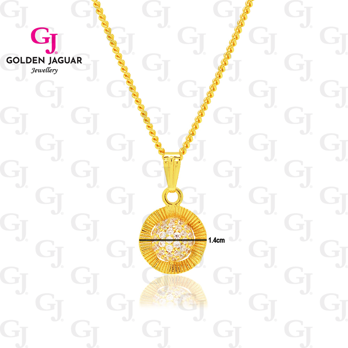 GJ Jewellery Emas Korea Woman Chain Necklace With Pendants - Rantai Leher Loket Dawn Flower (FREE GIFT)