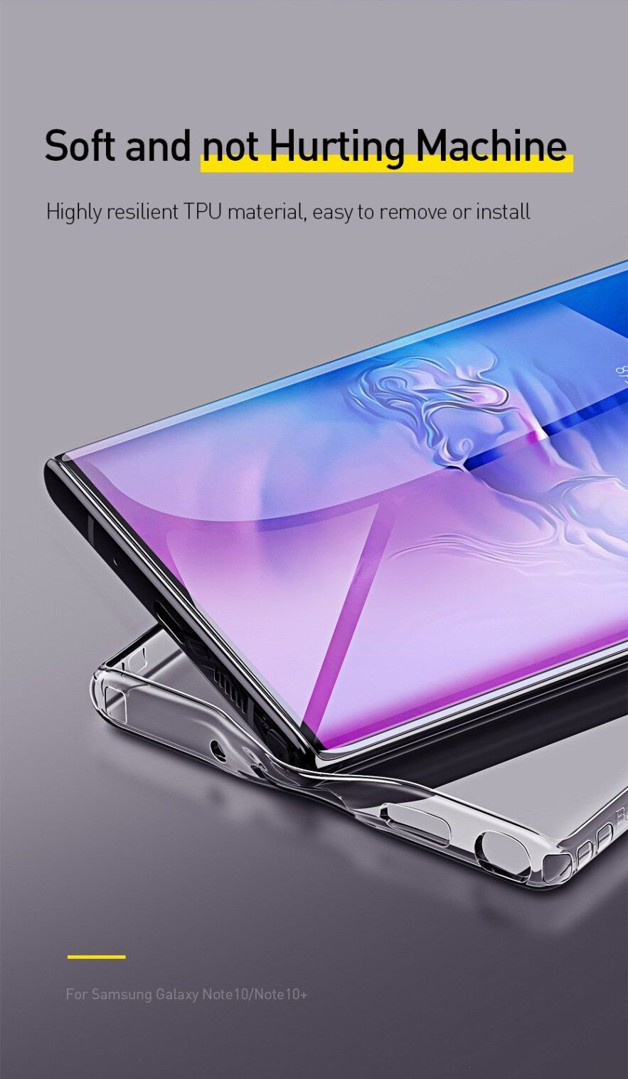 Baseus Simple Series Case For Note 10 / Note 10 Plus, Anti-fall TPU, Anti-yellowing, Clear, Glossy, Thin, Soft, Anti-dust, Dirt-proof, Transparent
