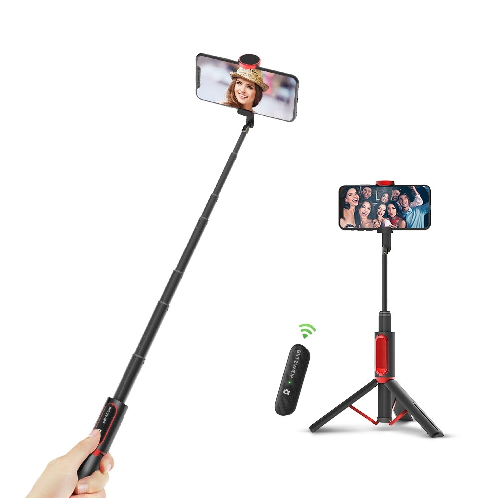 Phone Holder & Stand - BlitzWolf BW-BS10 All In One PORTABLE BLUETOOTH Selfie Stick - BLACK