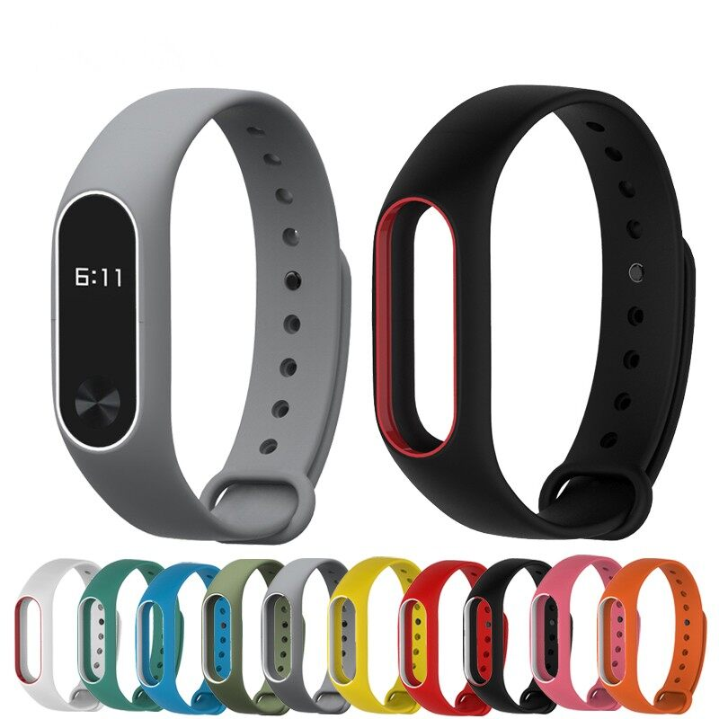 Smart Watch - Bakeey2122 Replacement Silicone Wrist Strap WristBand for Miband 2 - LIGHT BLUE+WHITE / BLUE+WHITE / DEEP BLUE+WHITE / GREEN+WHITE / RED+WHITE / GREY+WHITE / WHITE+RED / WHITE+BLACK / YELLOW+BLACK / RED+BLACK