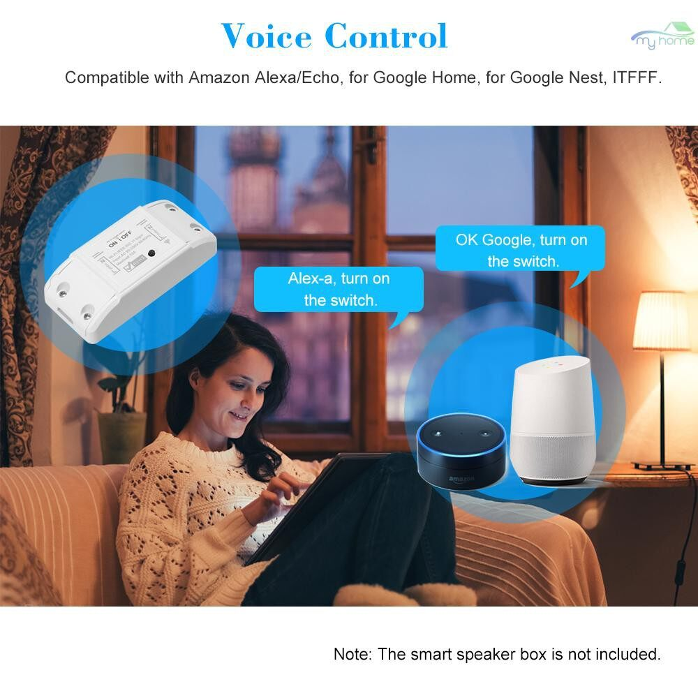 DIY Tools - Wifi Smart Switch Compatible with Amazon Alexa & for Google Home Timer 10A/2200W WIRELESS Remote - WHITE