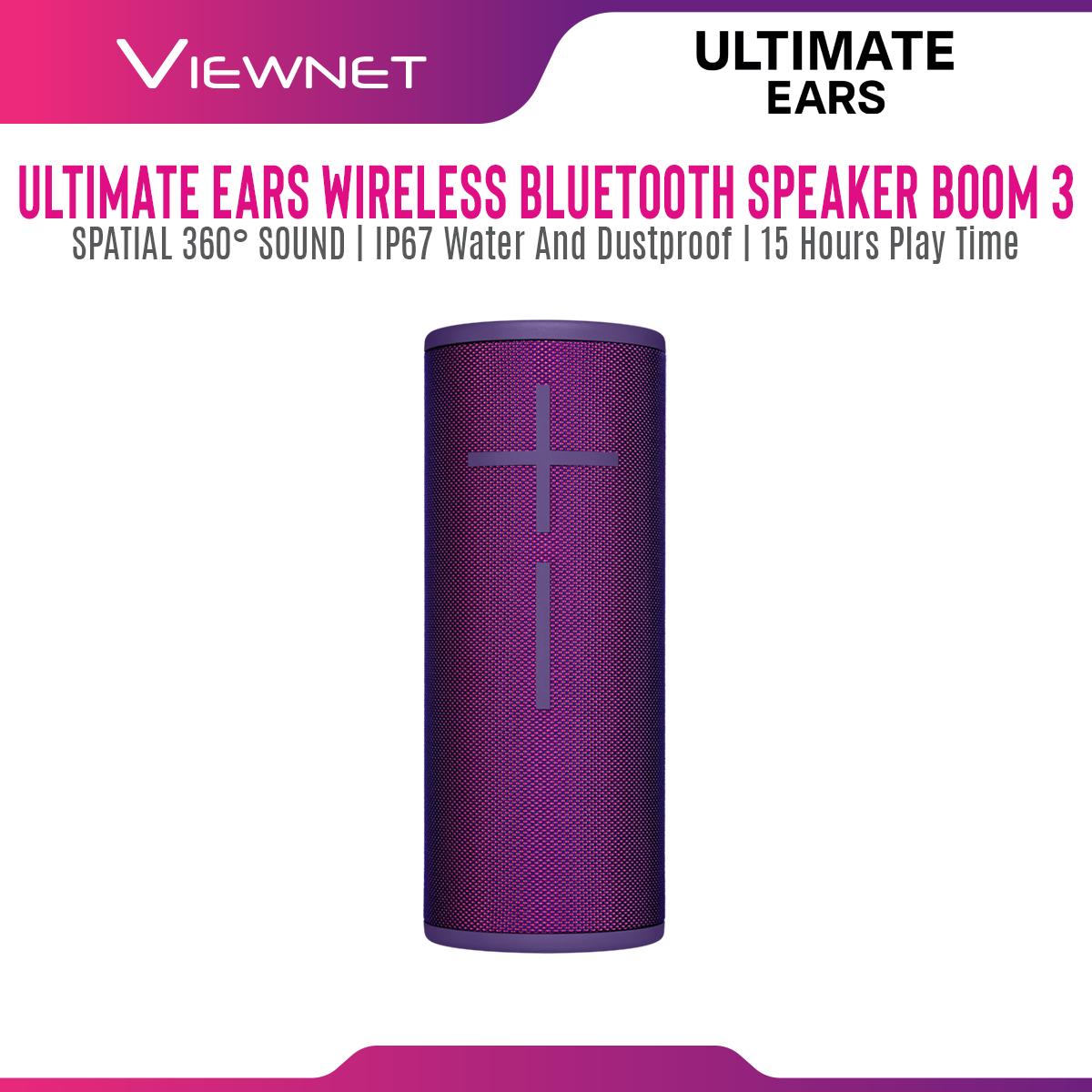 Ultimate Ears UE BOOM 3 Super Portable Waterproof Wireless Bluetooth Speaker (Lagoon Blue/Night Black/Sunset Red/Ultraviolet Purple)