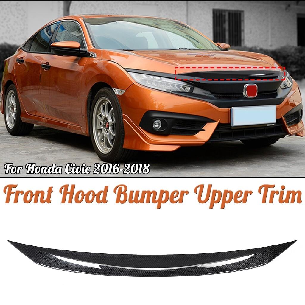 Automotive Tools & Equipment - Carbon Fiber Front Hood Bumper Upper Trim Nose Cover For Honda Civic 2016- - Car Replacement Parts
