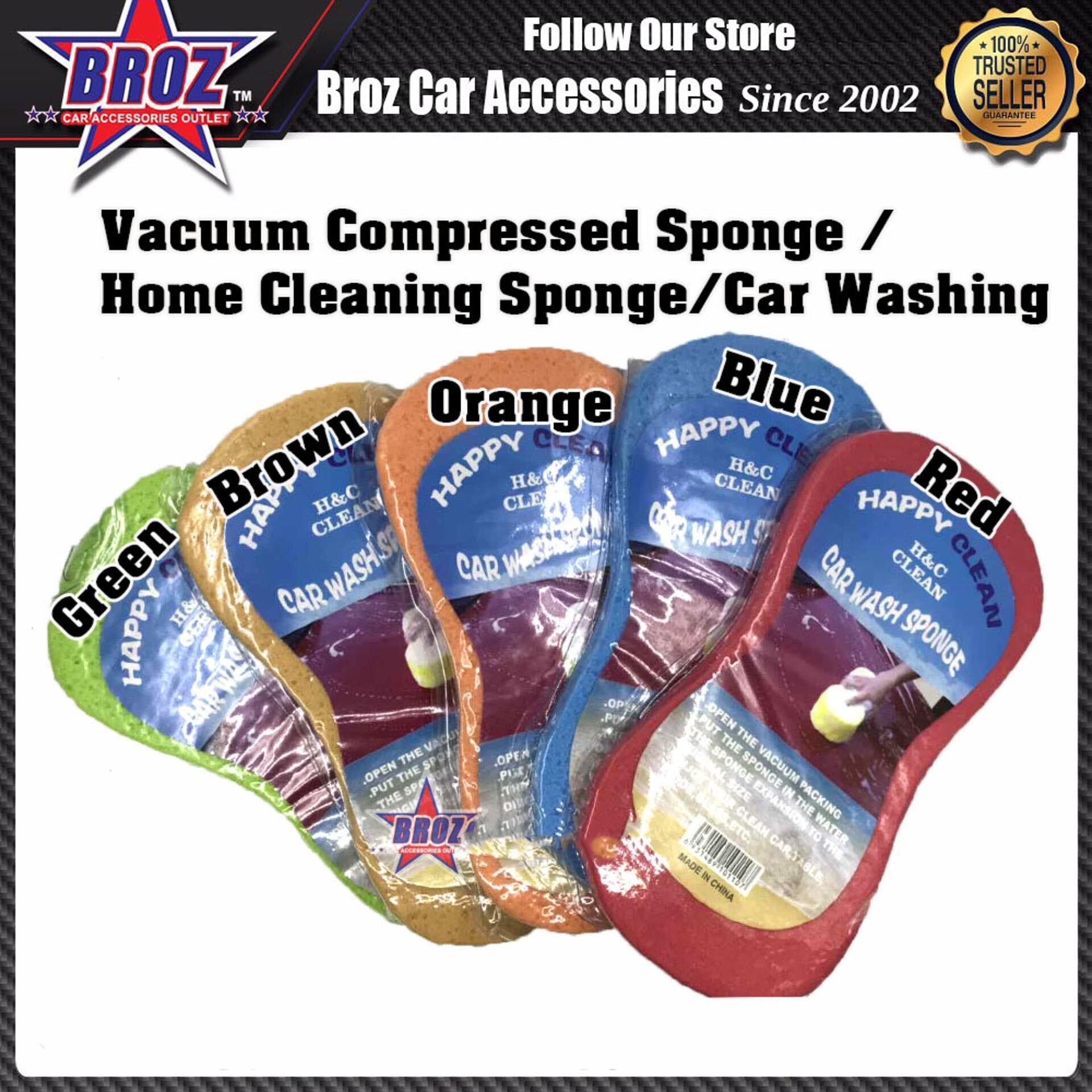3 x Vaccum Compressed Sponge/Home Cleaning Sponge/Car Washing (Red)