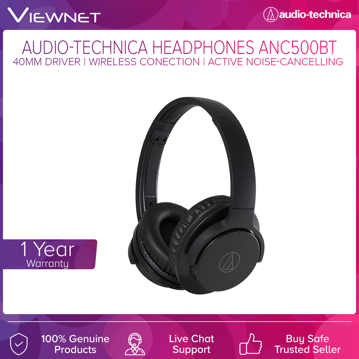 Audio-Technica Wireless Headphones ATH-ANC500BT with Active Noise-Cancelling, 40mm Driver, Bluetooth 4.1, 20 - 20,000 Hz Frequency, 1.2m Length Cable, Gold-Plated 3.5mm Audio Jack, 42 Hours Battery Life