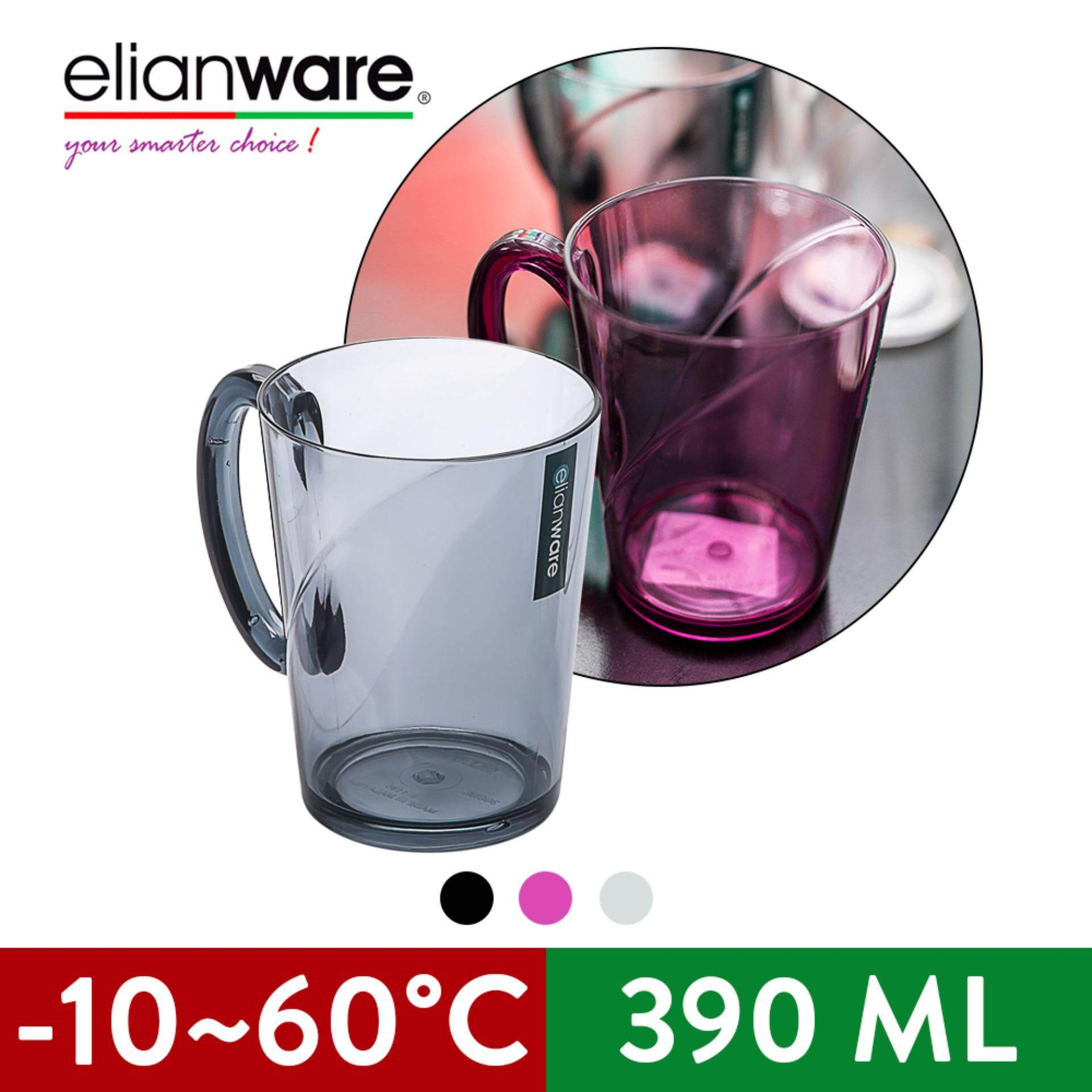 Elianware 390ml Transparent Unbreakable 1 Pcs or 2 Pcs  Drink Cup Mug with Handle