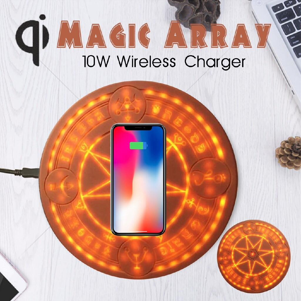 Chargers - Magic Array LED 10W Fast QI WIRELESS Charger Charging Pad Mat for iPh X XS 8 - NO SOUND EFFECT / WITH SOUND