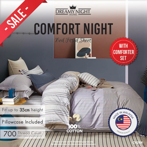 [100% Pure Cotton Comforter] Dreamynight Comfort Night High Quality Fitted Mattress Cover Bed Sheets Set 100% Cotton King/Queen/Super Single 700TC Hotel Collection Dreamy night Comfort night Cadar Queen Cadar King Selimut