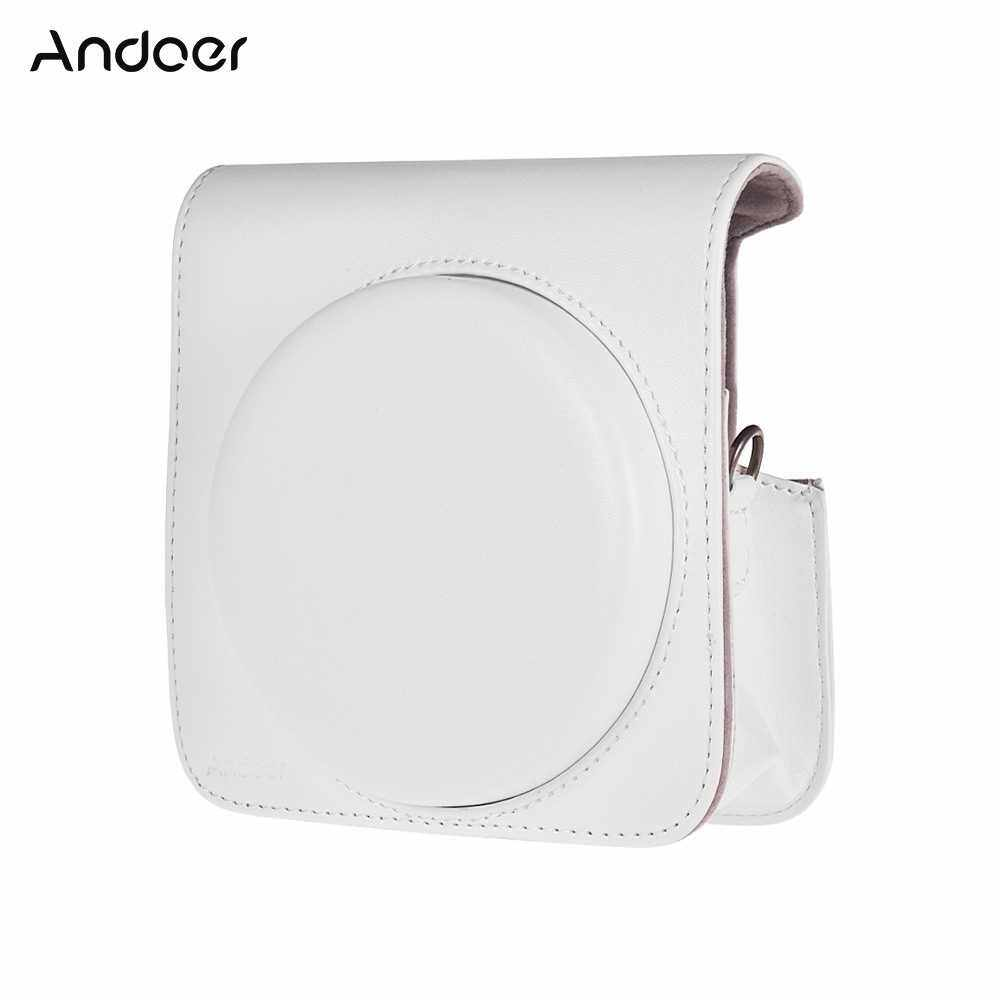 Andoer Protective Case PU Leather Bag with Adjustable Strap for Fujifilm Instax Square SQ6 Instant Film Camera Black (White)