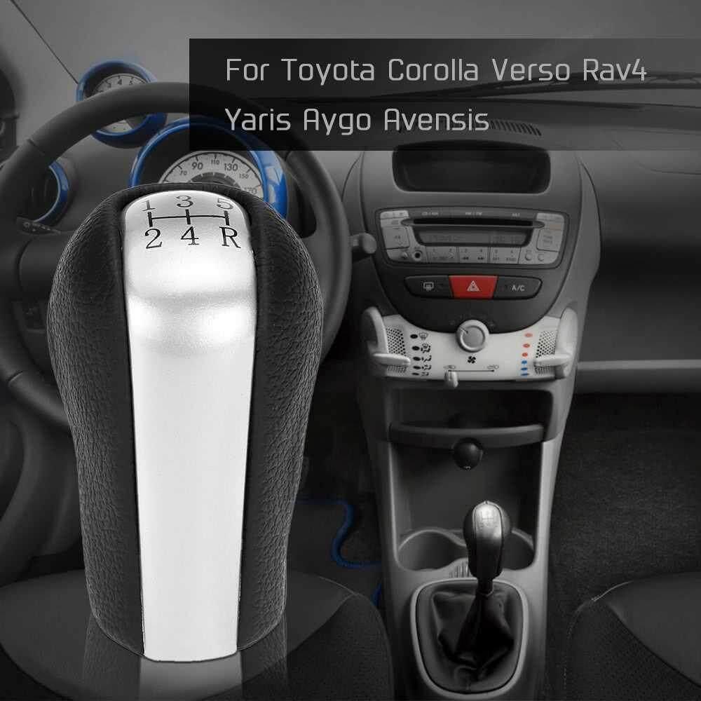 5 Speed Gear Stick Shift Knob Insert Replacement for Toyota Corolla Verso Rav4 Yaris Aygo Avensis (black red)