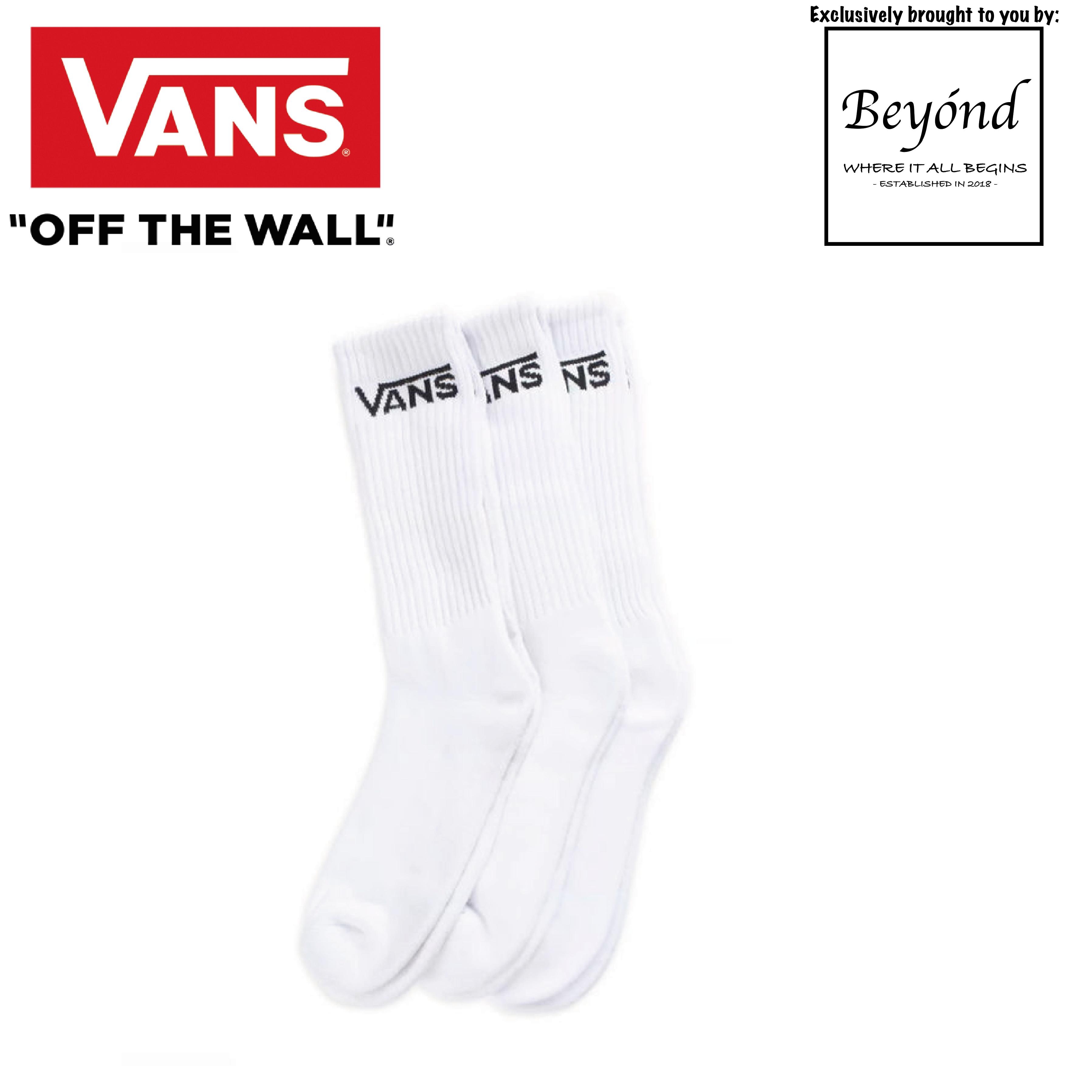 [3 Pairs] Vans - White Classic Crew Socks (Size: UK 5.5 - 8.0)