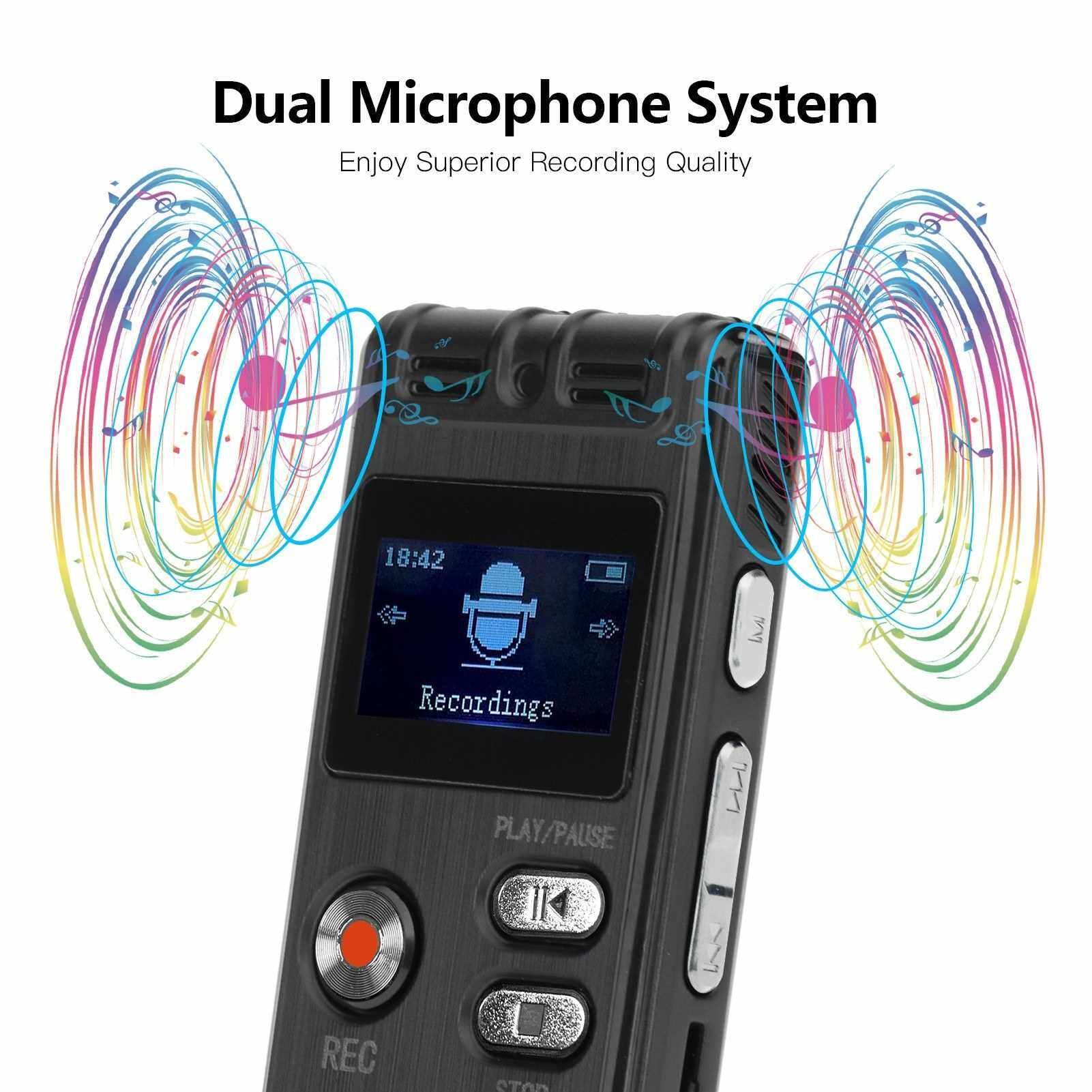 8GB Digital Voice Recorder Voice Activated Recorder MP3 Player 1536Kbps HD Recording Noise Reduction Dual Microphone with OTG Function 8GB Capacity 24 Languages Support Recording Monitoring/Telephone Recording for Meeting Lecture Interview Class (Standar