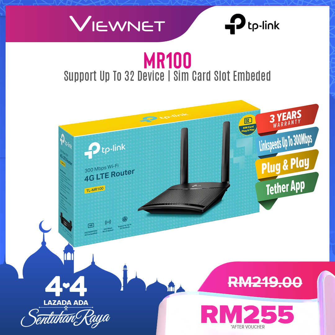 TP-Link Wireless 4G LTE WiFi SIM Router, 300MBPS , (ARCHER TL-MR100), (Support Digi/Maxis/Celcom/YES/Umobile/UNIFI) MR100