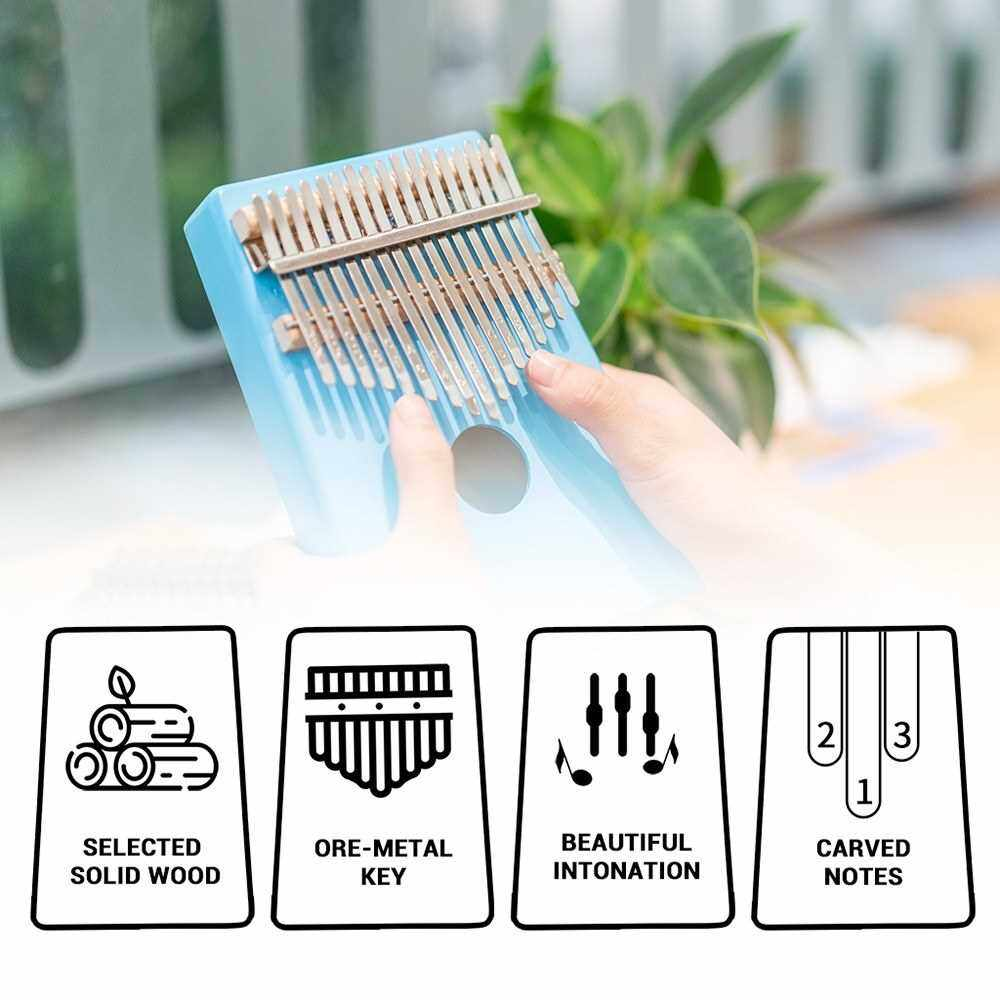 ammoon 17 Keys C-Tune Thumb Piano Kalimba Portable Solid Wood Finger Piano with Tuning Hammer Great Gifts for Kids and Adults (Blue)