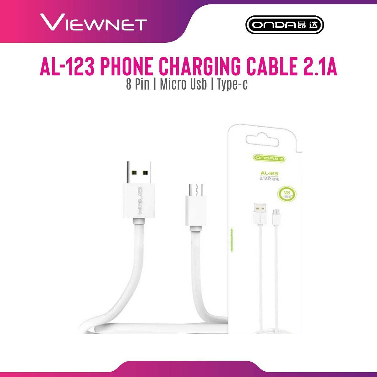 [LAZCHOICE] Onda Apple 8 Pin / Type-C / Micro USB 2.1A Fast Charge & Sync Cable with Overvoltage Protection