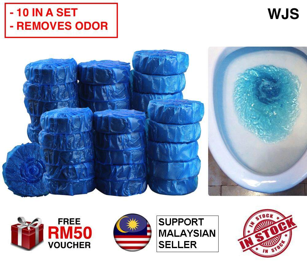 (ODOUR REMOVAL) WJS 10pcs 10 pcs Toilet Bowl Cleaner Tablets Antibacterial Cleaning Toilet Bowl Tablet Tab Blue Bubble For Bathroom BLUE [FREE RM 50 VOUCHER]