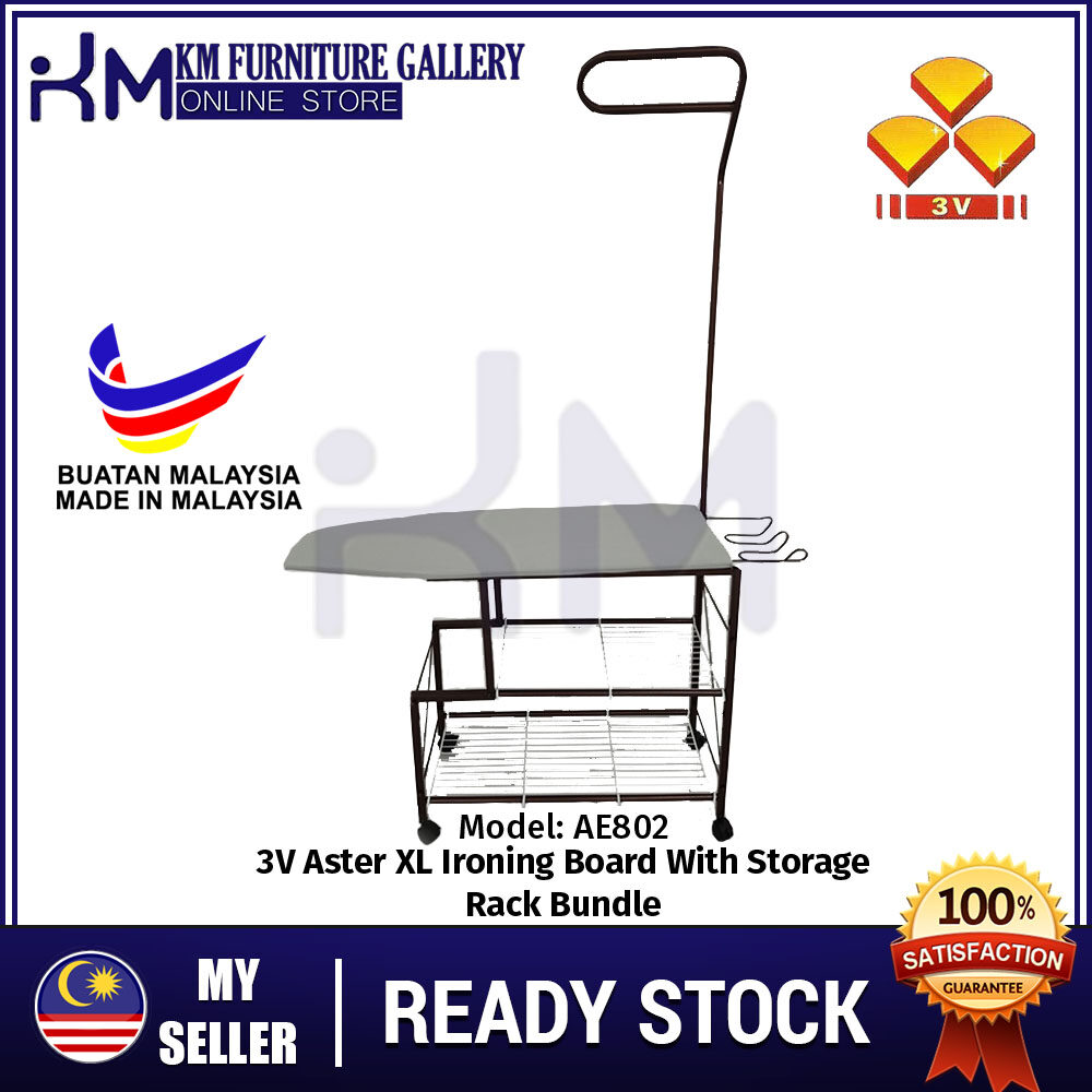 KM Furniture 3V AE802 Aster XL Ironing Board With Storage Rack/ Papan Seterika