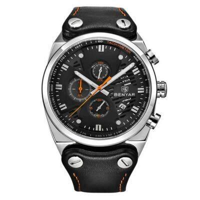 BENYAR Men Leather Chronograph Luminous Waterproof 30M Sports Quartz Watch (MULTI-B)