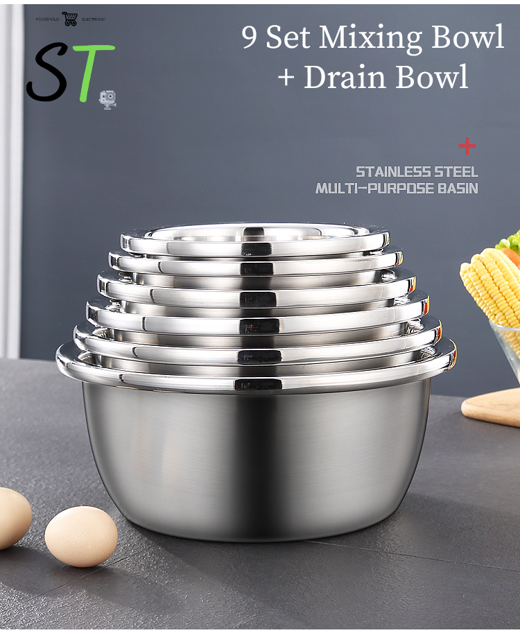 ST 9 Set Mixing Bowl with Drain Mesh Bowl Basin