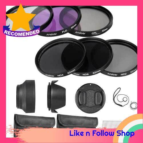 Andoer 52mm Lens Filter Kit UV+CPL+FLD+ND(ND2 ND4 ND8) with Carry Pouch / Lens Cap / Lens Cap Holder / Tulip & Rubber Lens Hoods / Cleaning Cloth (Standard)