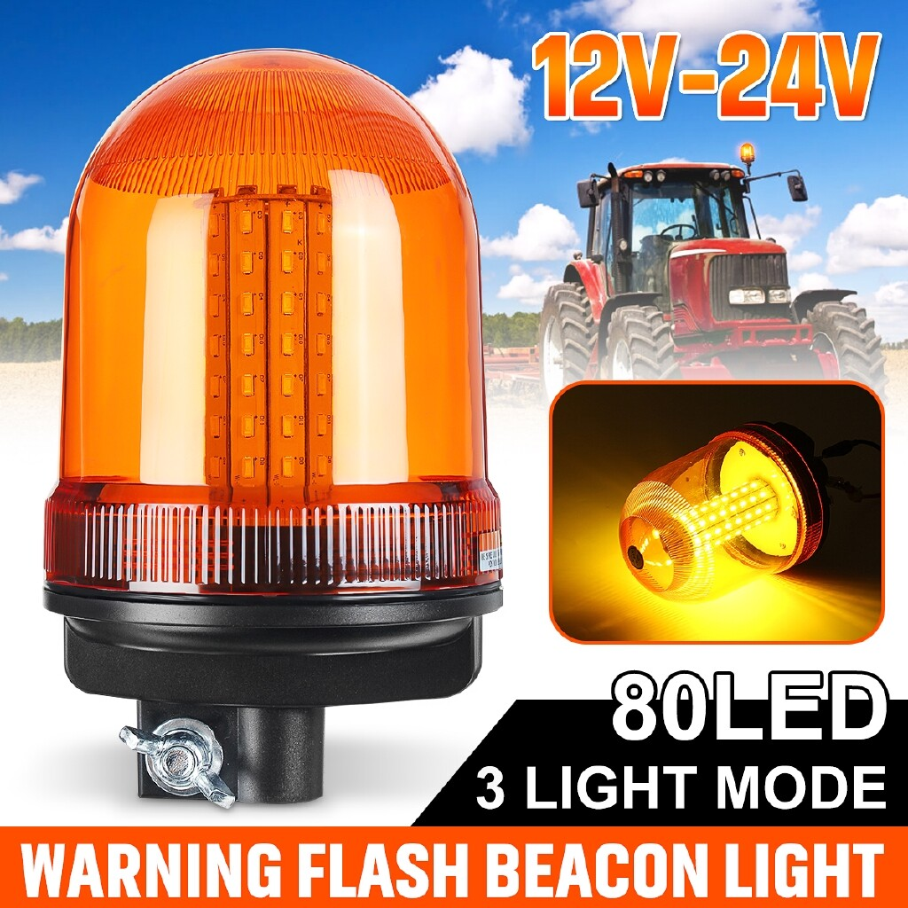 Car Lights - 80 SMD LED 12V-24V Rotating Flashing Strobe Beacon Emergency Warning Light Amber - Replacement Parts