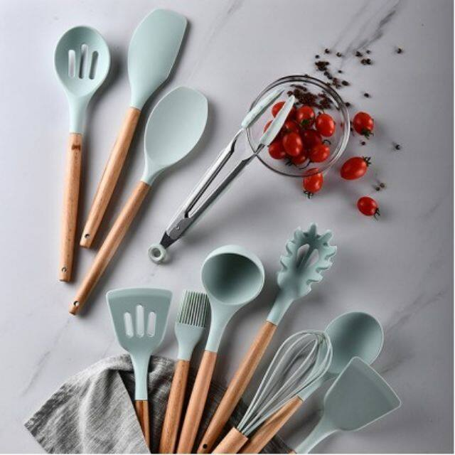 12PCS Silicone Cooking Utensils Set Non-Stick Spatula Handle Cooking Tools Set