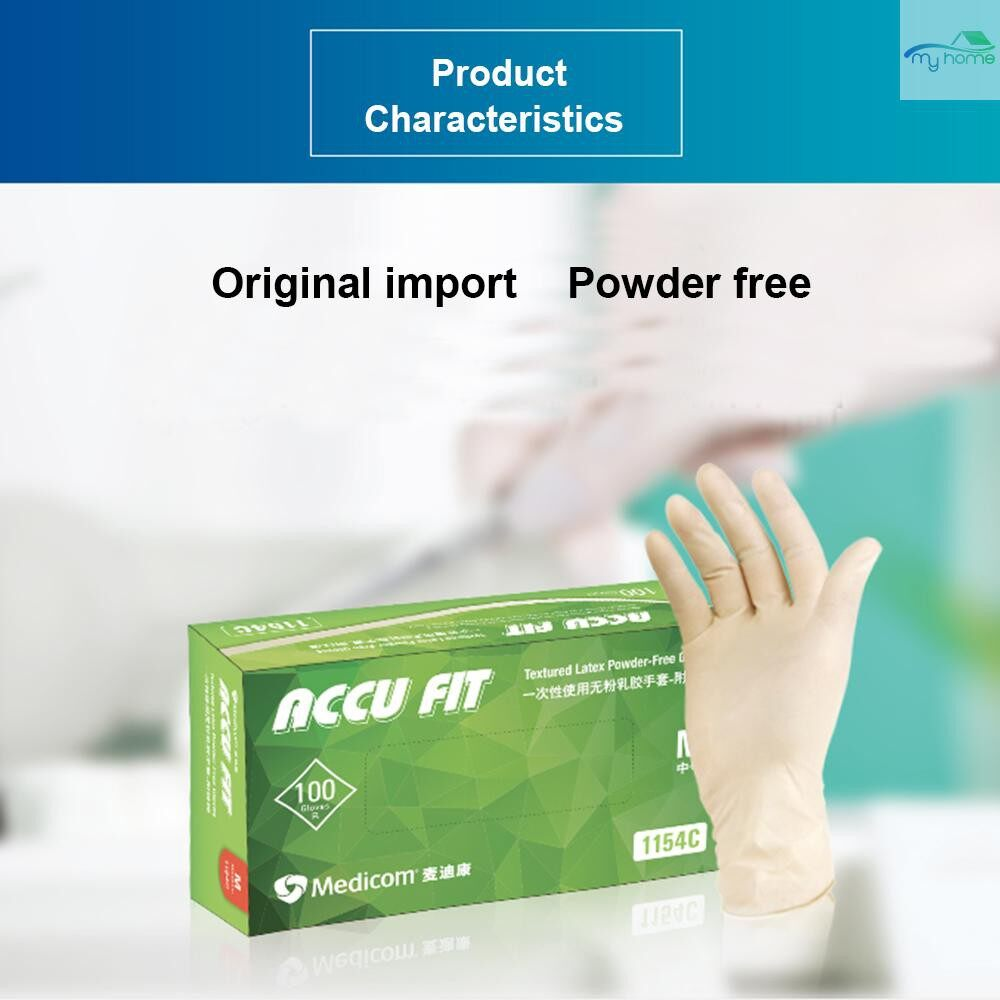 Protective Clothing & Equipment - Medicom 1154D 100 PIECE(s) Disposable Nitrile Rubber Glove Thick Powder Free Strong Stretchy Gloves for - WHITE-L / WHITE-M / WHITE-S