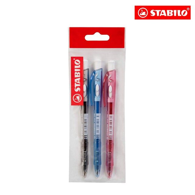STABILO® liner 308FW Ballpoint Pen in Black Blue & Red (Pack of 3's) for Students & Office