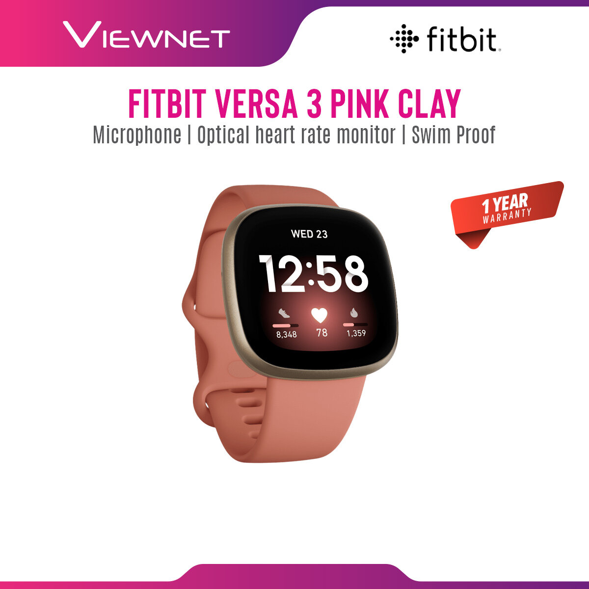 (NEW) Fitbit Versa 3 / Fitbit Versa 2 Smart Watch Heart Rate Activity Tracker Health & Fitness Smartwatch (2 sizes Band S & L Included)