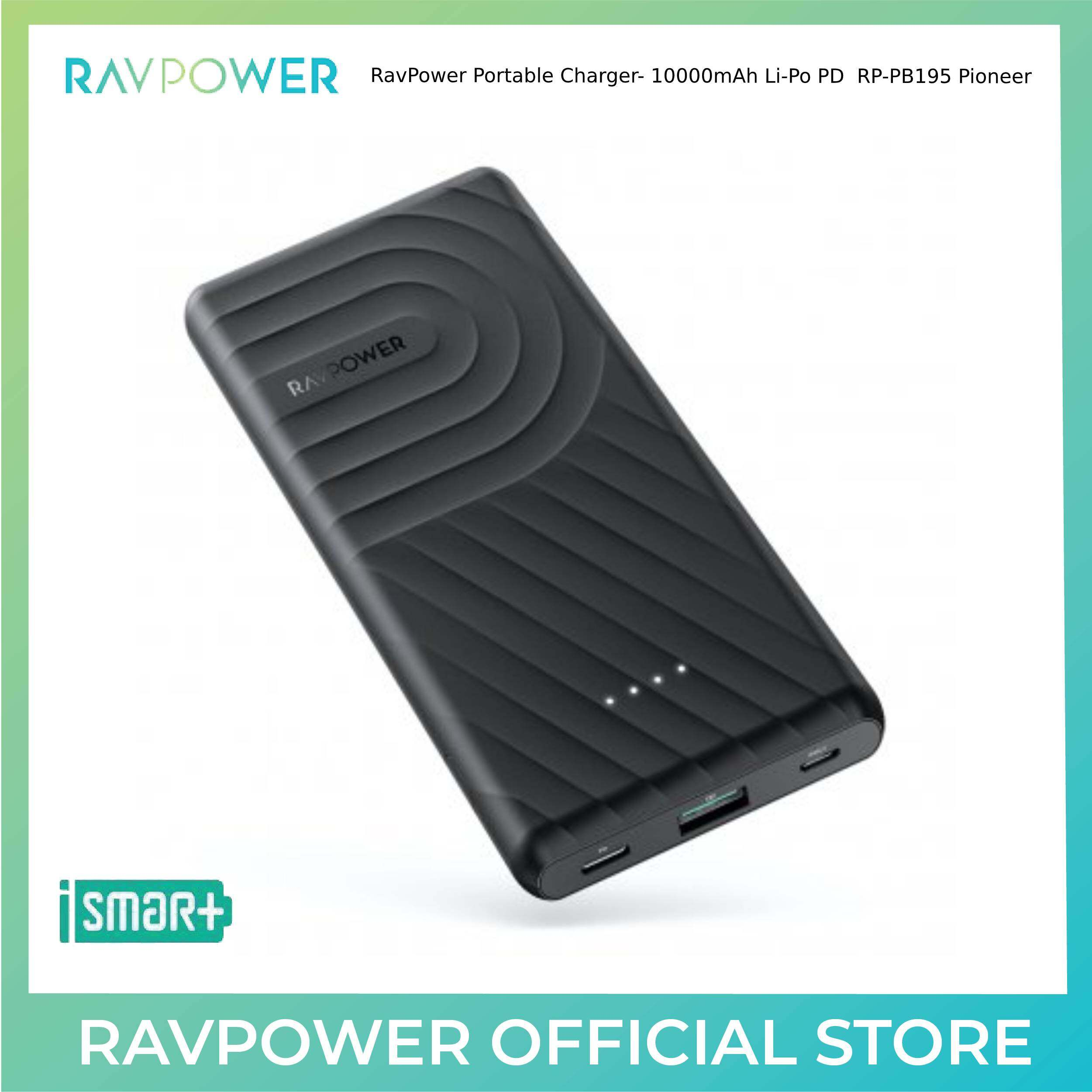 RavPower Portable Charger- 10000mAh Li-Po PD Pioneer