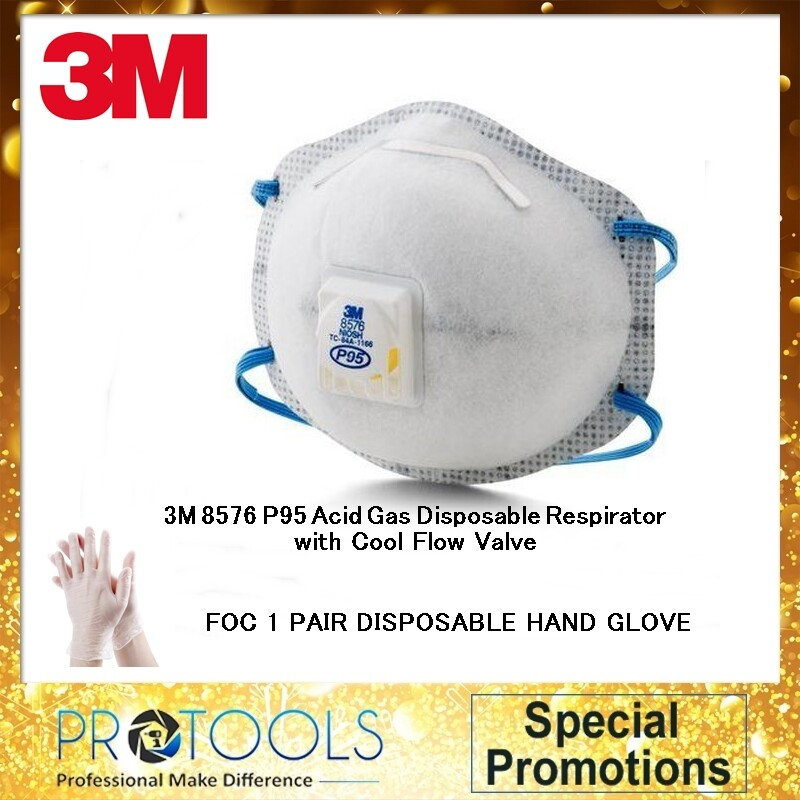 3M 8576 P95 Acid Gas Disposable Respirator with Cool Flow Valve (ONE PIECE) COMBO 1 PAIR DISPOSABLE HAND GLOVE